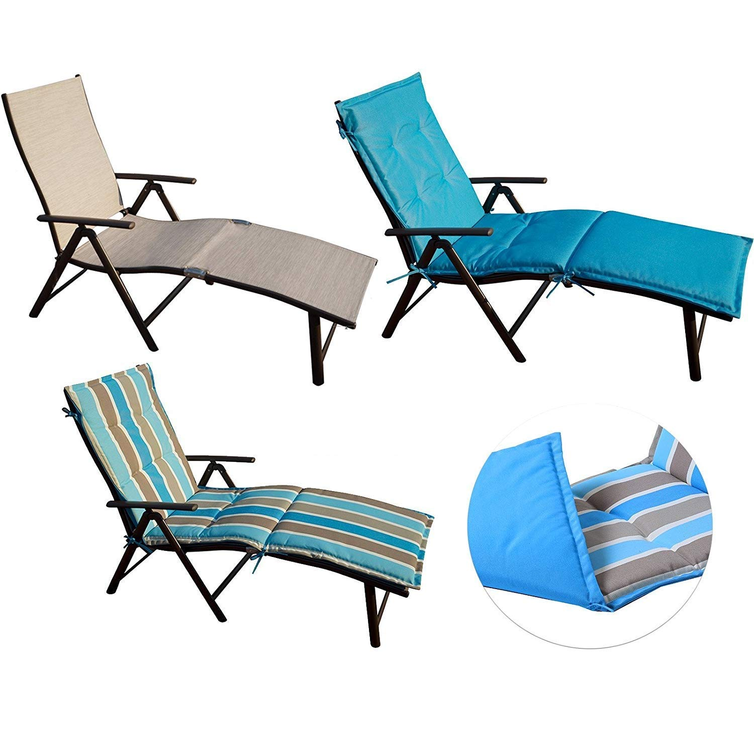 Kozyard Aluminum Padded Reclining Beach Chair